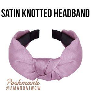 "Silk Cross Knot Twist Headband - Light Purple - 1"""